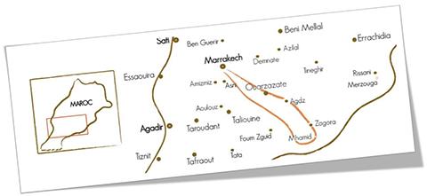 Carte voyage dans le désert Maroc