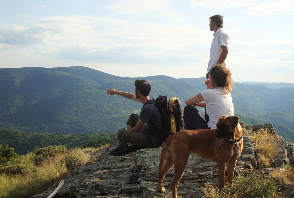 Pause pour contempler le paysage lors du séjour Randonnée avec nos ânes en Cévennes. rando ânes loin de la foule du chemin de Stevenson