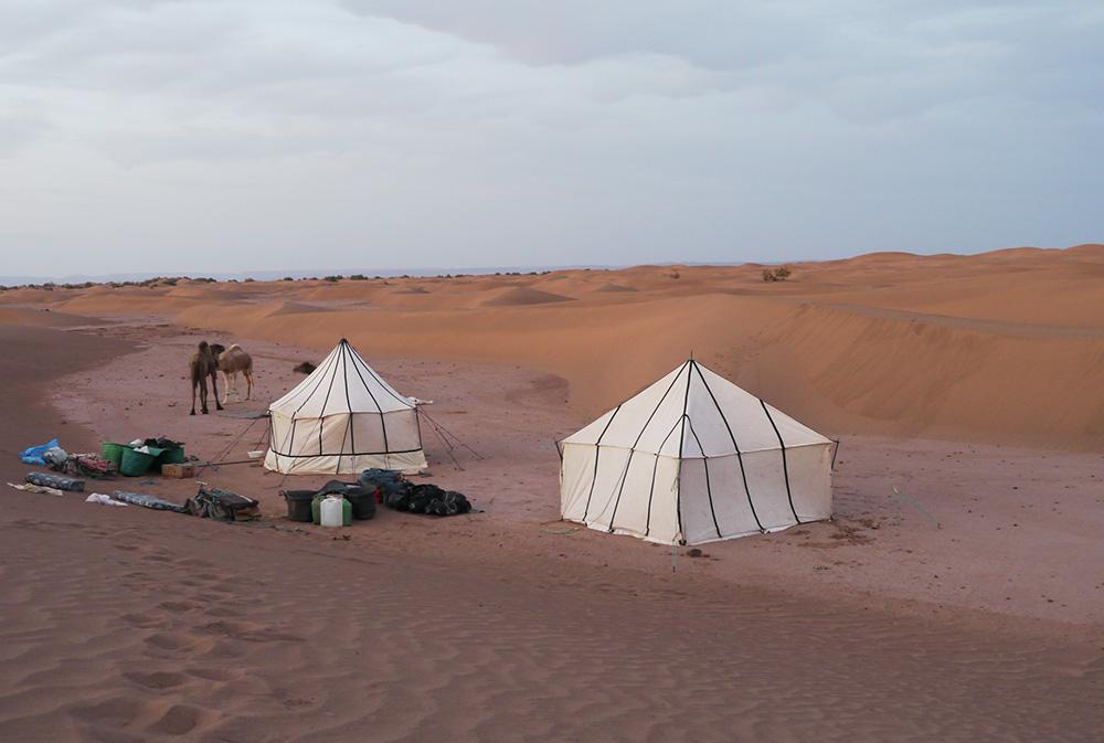 Tentes au milieu du désert lors du séjour méharée dans le désert en famille