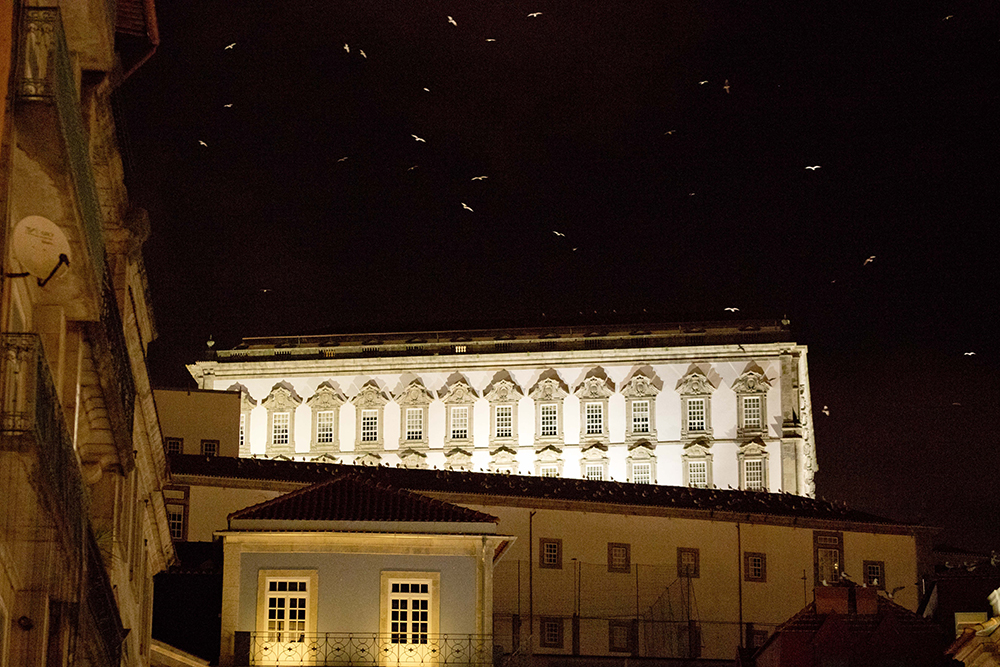 Bâtiment portugais pris de nuit